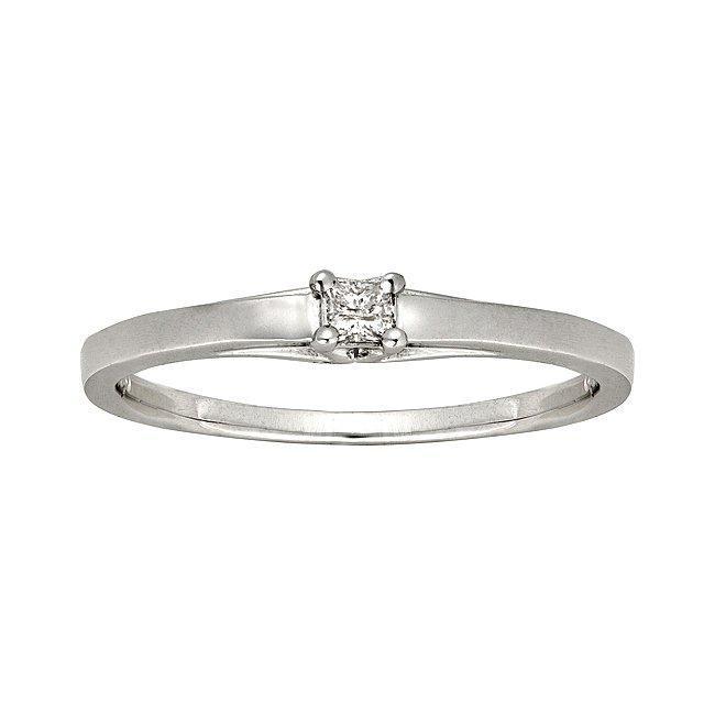 Montebello 10k White Gold Diamond Accent Solitaire Princess Cut Promise Ring