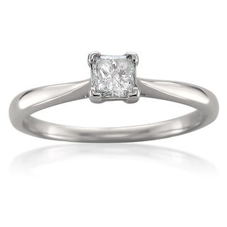 14k White Gold 1/3ct TDW Princess Diamond Solitaire Ring (I-J, I1)