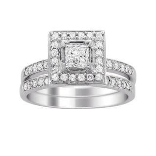14k White Gold 1ct TDW Princess Diamond Bridal Ring Set (H-I, I1)