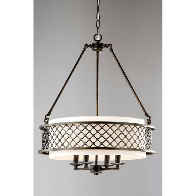 Lux Bronze 4 Light Beige Pendant Chandelier
