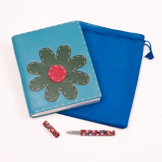 Leather and Recycled Paper Teal Flower Journal (India)