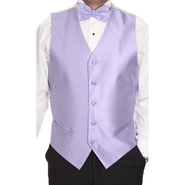 Ferrecci Men's Lavender Patterned 4-piece Vest Set
