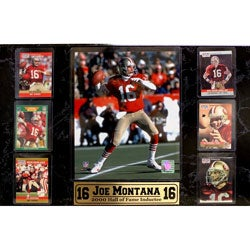Joe Montana Trading Card and Hall of Fame Photo Plaque