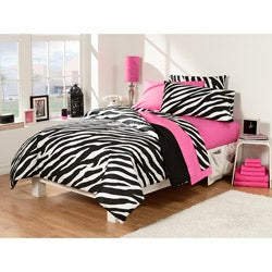 Zebra/Pink 30-piece Twin Extra Long Dorm Room Superset