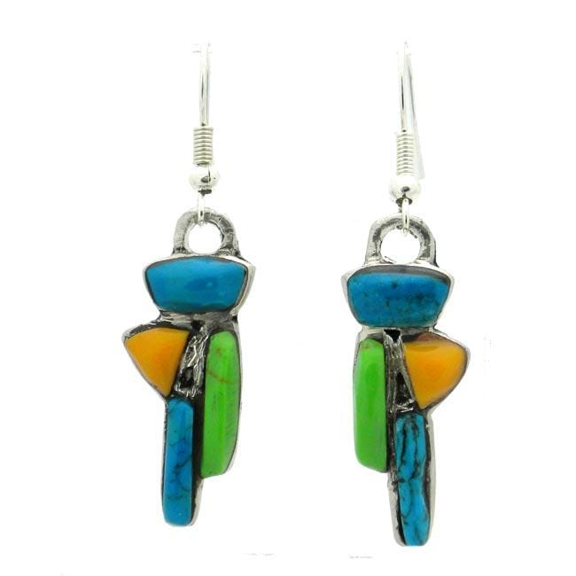 Alpaca Silver Abstract Turquoise and Resin Earrings (Mexico)
