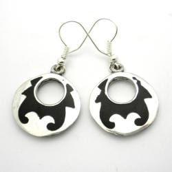 Alpaca Silver and Resin Goth Design Earrings (Mexico)