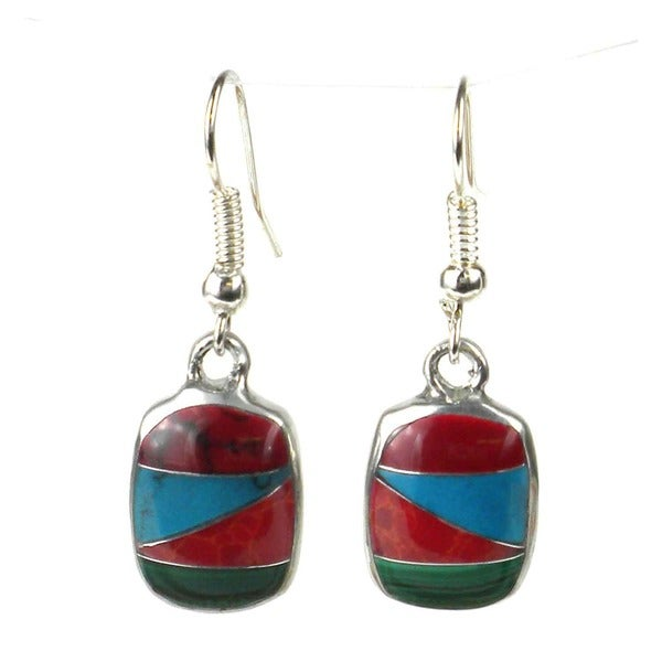 Alpaca Silver Diagonal Turquoise Trio Earrings (Mexico)