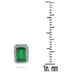 14k White Gold Emerald and 1/5 Carat TDW Diamond Earrings (I-J, I1-I2)