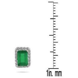 Marquee Jewels 14k White Gold Emerald and 1/5 Carat TDW Diamond Earrings (I-J, I1-I2)