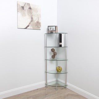 Greenwich 5-Tier Corner Glass Shelving Unit