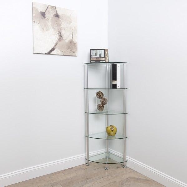 Greenwich 5-Tier Corner Glass Shelving Unit