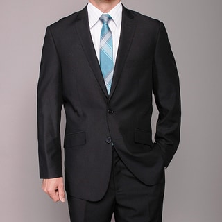 Men's Black 2-button Slim-fit Suit