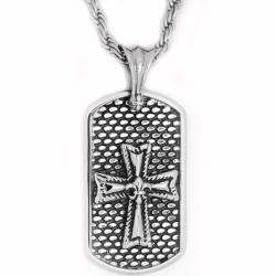 Oliveti Stainless Steel Antique Cross Dog Tag