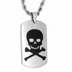 Oliveti Stainless Steel Black-plated Skull and Crossbones Dog Tag