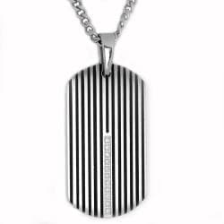 Oliveti Stainless Steel Resin Inlay and Cubic Zirconia Dog Tag
