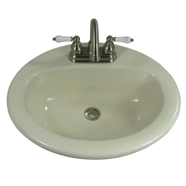 Mansfield Porcelain Biscuit Drop-in Oval Sink - 13005835 - Overstock ...
