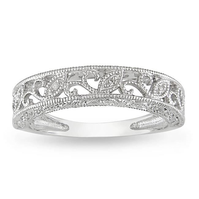 10k White Gold Women s 1 10ct TDW Diamond Wedding Band H I I2 I3 Ove