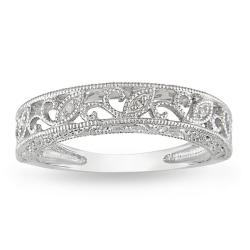 Miadora 10k White Gold Women's 1/10ct TDW Diamond Band (H-I, I2-I3)