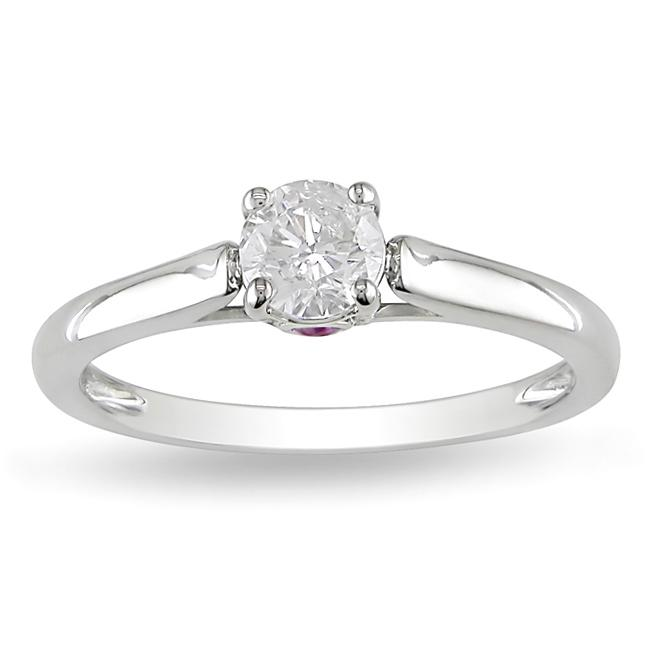 L'Amour Enrose by Miadora 14k Gold 1/2ct TDW Diamond and Sapphire Solitaire Engagement Ring (H-I, I2-I3)