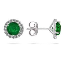 14k White Gold Emerald and 1/5ct TDW Diamond Earrings (I-J, I1-I2)