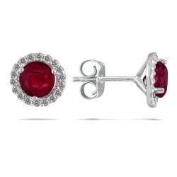 14k White Gold Ruby and 1/5ct TDW Diamond Earrings (I-J, I1-I2)