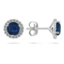 Marquee Jewels 14k White Gold and Sapphire 1/5ct TDW Diamond Earrings (I-J, I1-I2)