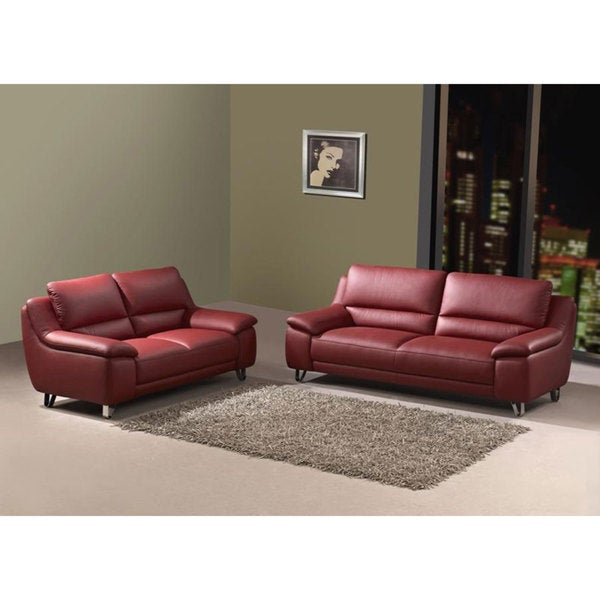 Valencia Leather Sofa and Loveseat Set