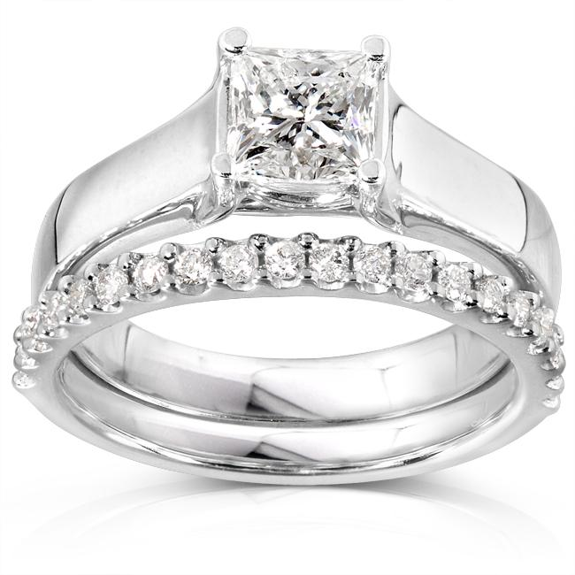 Annello 14k Gold 1 1/4ct TDW Princess Solitaire 2-Piece Diamond Bridal Set (H-I, I1-I2) at Sears.com