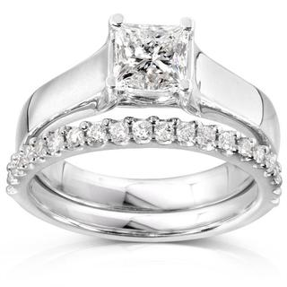 Annello 14k Gold 1 1/4ct TDW Princess Solitaire 2-Piece Diamond Bridal Set (H-I, I1-I2)