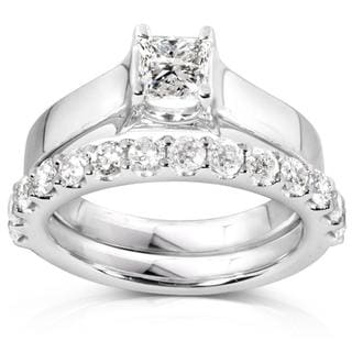 Annello 14k White Gold 1 1/4ct TDW Diamond Bridal Ring Set (H-I, I1-I2)