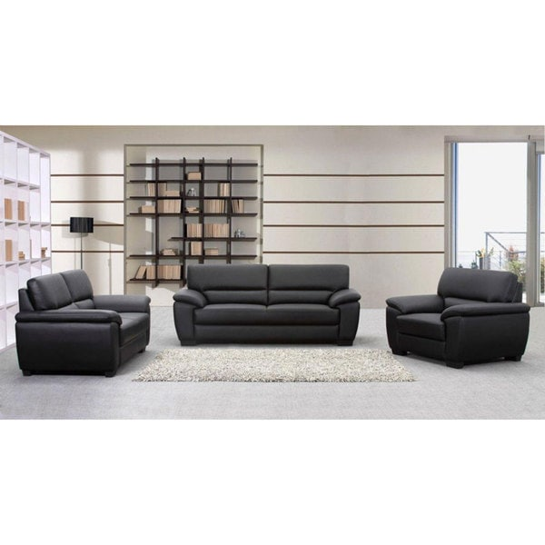 Oxford Black Leather Sofa, Loveseat and Armchair Set