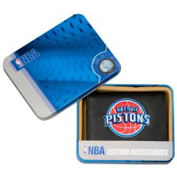 Detroit Pistons Men's Black Leather Tri-fold Wallet