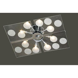 Contemporary Glass 8-light Flushmount Ceiling Chandelier