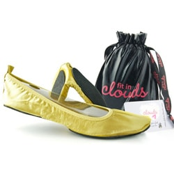 Fit In Clouds Women's Portable Gold Satin Flats