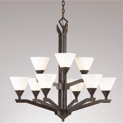 Sherwood 9-light English Bronze 2-tier Chandelier
