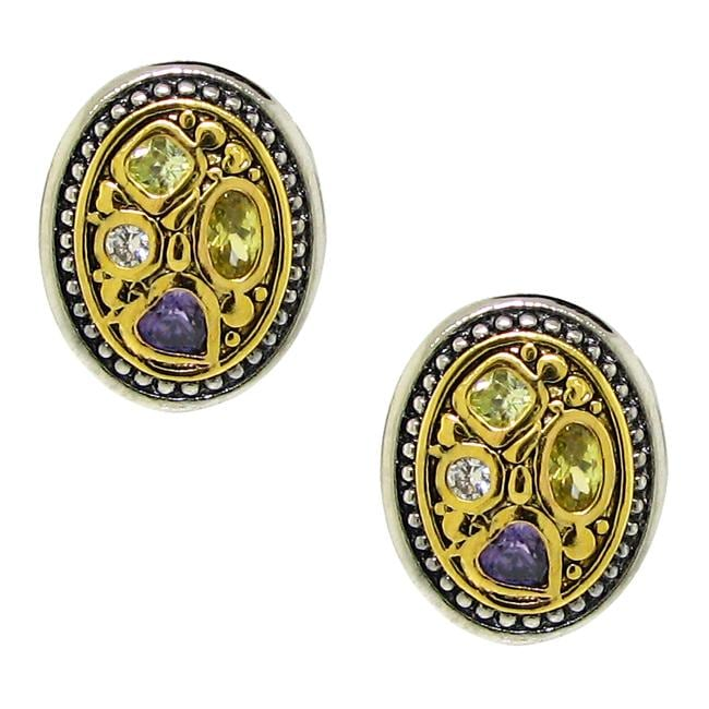 Two-tone Colorful Cubic Zirconia Earrings