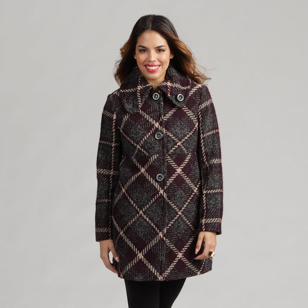 Larry Levine Petite Plaid Wool-blend Coat