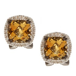 Black-plated Sterling Silver Citrine and 1/4ct TDW Diamond Earrings (J, I2-I3)