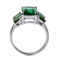 PalmBeach High-Polish Sterling Silver Green Glass Mt. St. Helens-Inspired Ring Color Fun