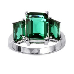 Lillith Star High-Polish Sterling Silver Green Glass Mt. St. Helens-Inspired Ring