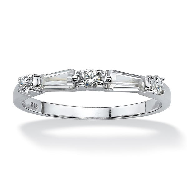 PalmBeach CZ Sterling Silver White Cubic Zirconia Ring Classic CZ