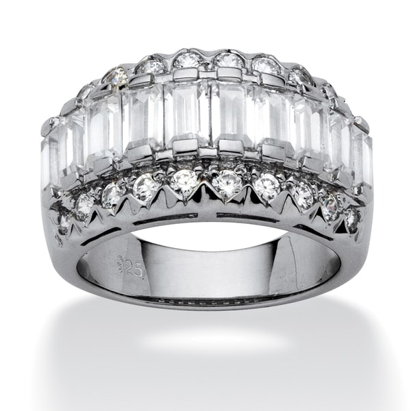 PalmBeach 3.78 TCW Baguette Cut Cubic Zirconia Platinum over Sterling Silver Ring Classic CZ