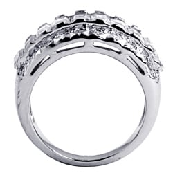 Ultimate CZ Platinum over Sterling Silver Baguette-cut Cubic Zirconia Ring