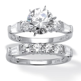 PalmBeach 2 Piece 3.60 TCW Round Cubic Zirconia Bridal Ring Set in 10k White Gold Classic CZ
