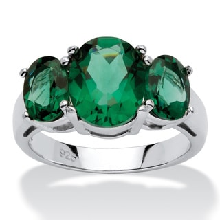 PalmBeach Oval-Cut Green Crystal Mount St. Helens-Inspired Ring in Sterling Silver Color Fun