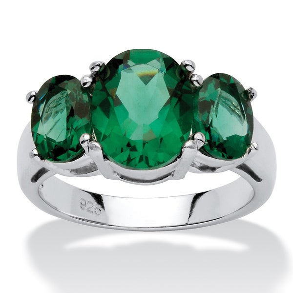 PalmBeach Sterling Silver Green Glass Mt. St. Helens-inspired Ring Color Fun