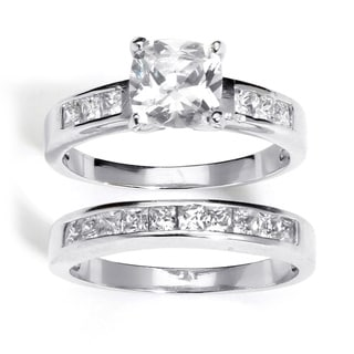 PalmBeach CZ Platinum over Silver Cubic Zirconia 2-piece Ring Set Classic CZ