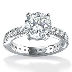 Ultimate CZ Platinum over Sterling Silver Cubic Zirconia Ring