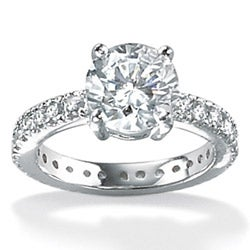 Ultimate CZ Platinum over Sterling Silver Round Cubic Zirconia Ring