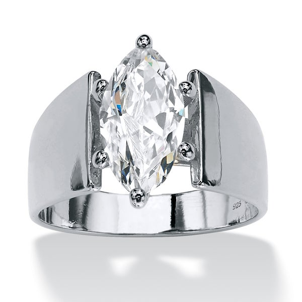 PalmBeach 2.11 TCW Marquise-Cut Cubic Zirconia Sterling Silver Ring Glam CZ